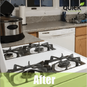 Kitchen after airbnb cleaning service