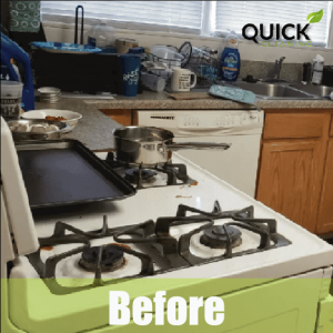 Kitchen before airbnb cleaning service